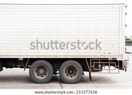 White commercial delivery truck - stock photo