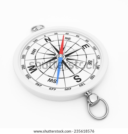 White compass on white background. Chrome element and color arrows - stock photo