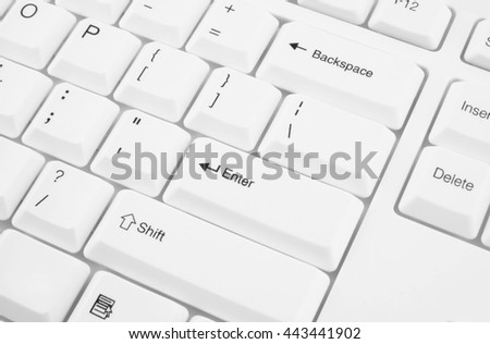 White computer keyboard close up - stock photo