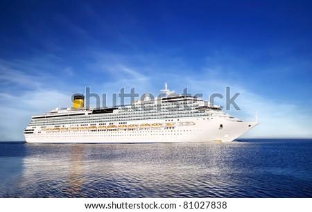 white  Concordia-class cruise liner entering the port of Riga - stock photo