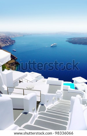 White concrete stairs leading to the beautiful bay - stock photo