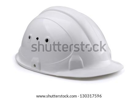 White construction hard hat isolated on white - stock photo