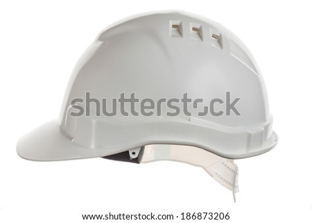White construction helmet shot isolated on white  - stock photo