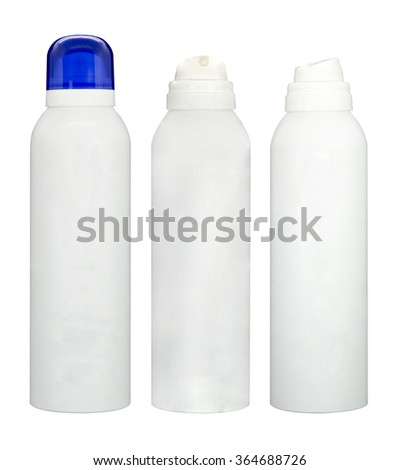 White container spray bottle isolated with white background - stock photo