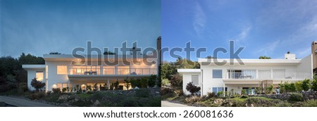 White contemporary home at night and at daytime. - stock photo