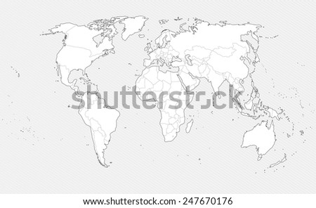White Contour world map on gray background. Border countries. - stock photo
