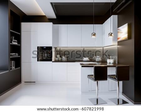 White Contrast Modern Kitchen Interior Design Stock Illustration ...