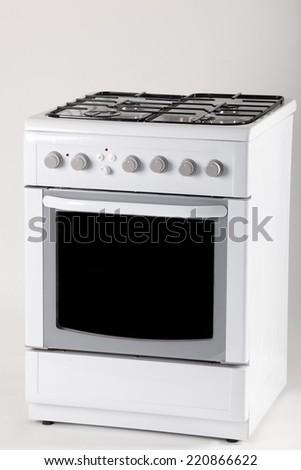 White cooker single gas hob - stock photo