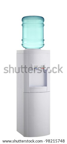 White cooler with water bottle on a white background.