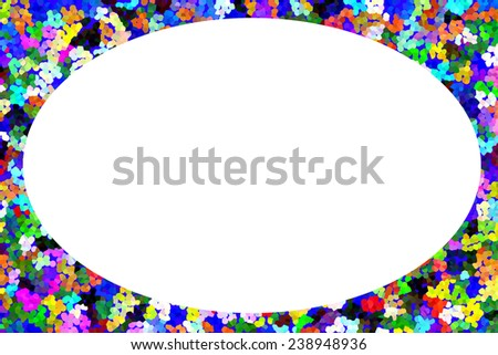 White copy space shaped like an egg on a flowery pointillist background for Easter holiday and other occasions