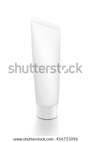 White cosmetic product cream toothpaste tube from front closeup side angle. 3D illustration isolated on white background. - stock photo