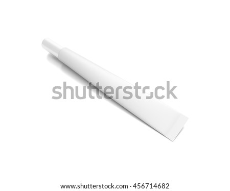 White cosmetic product cream tube from top front angle. 3D illustration isolated on white background.