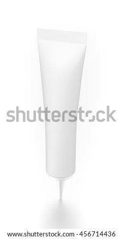 White cosmetic product cream tube from top side angle. 3D illustration isolated on white background.