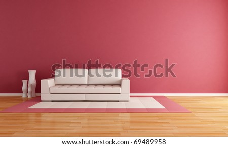 white couch in a modern lounge - rendering - stock photo