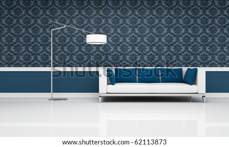 white couch with blue pillow against blue damask  wallpaper - rendering