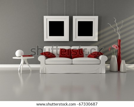 white couch with cushion in minimalist interior - rendering - stock photo