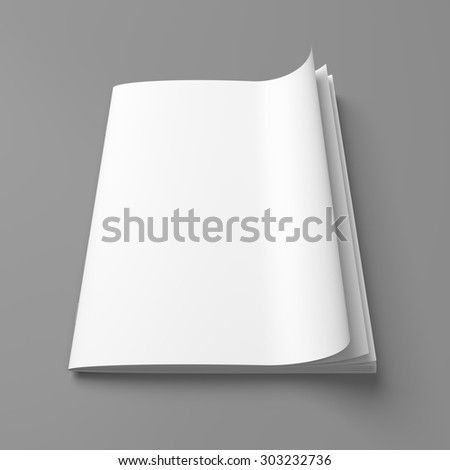 White cover empty magazine blank on grey background - stock photo