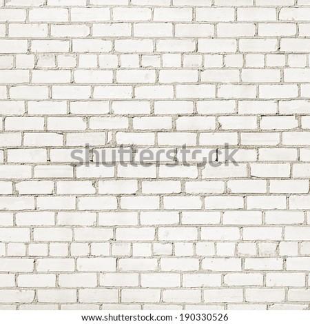 white cracked grunge brick wall texture background - stock photo