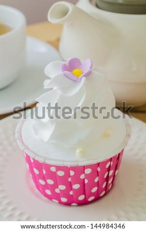 White cream Cupcake - stock photo