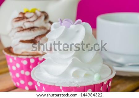 White cream&White chocolate cupcake - stock photo