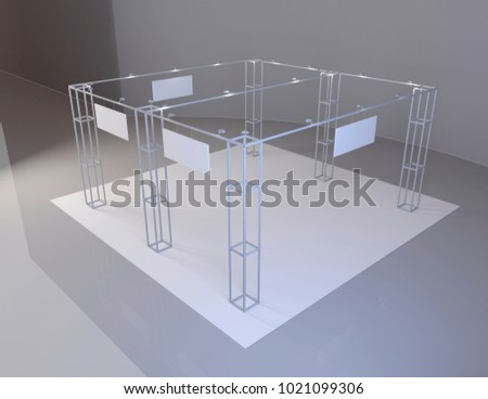 White creative exhibition stand design. Booth set template. 3d render