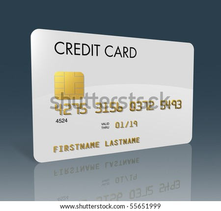White credit card isolated on grey with clipping path