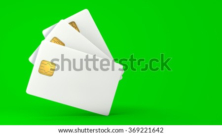 White credit card on green background - stock photo