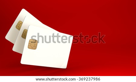 White credit card on red background - stock photo