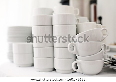 White crockery on a white background, a restaurant - stock photo