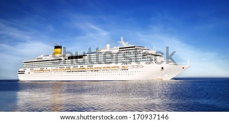 white cruise liner entering the port of Riga - stock photo