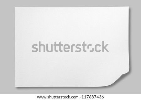 White crumpled paper on gray background with shadow - stock photo