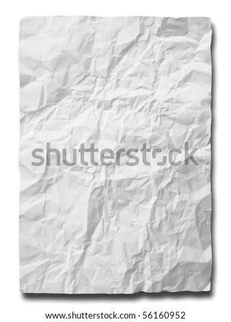 White crumpled paper on white background isolated