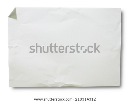 White crumpled paper on white background isolated Horizontal - stock photo