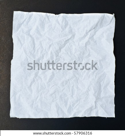 White crumpled tissue paper black isolation - stock photo