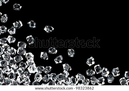 White crystals on a black background - stock photo