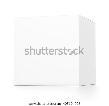 White cube blank box from front far side angle. 3D illustration isolated on white background. - stock photo