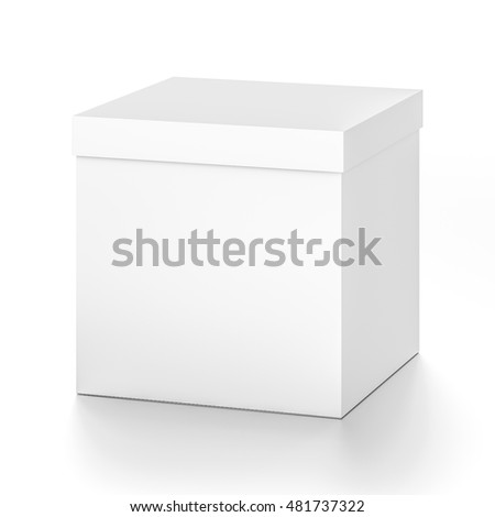 White cube blank box with cover from top front far side angle. 3D illustration isolated on white background.