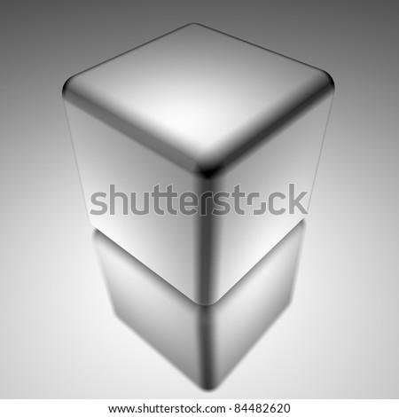 white cube isolated over white - stock photo