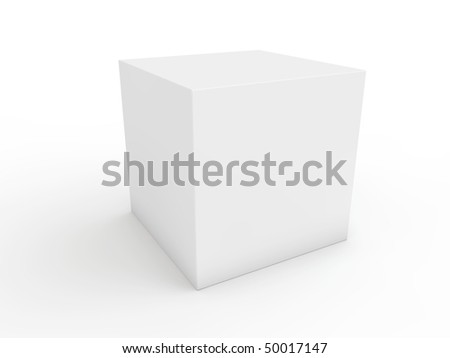white cube ready for next design - stock photo