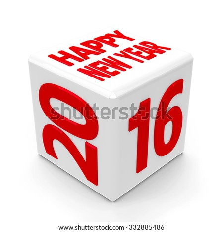 White cube with 2016 on a white table represents the new year 2016, three-dimensional rendering - stock photo