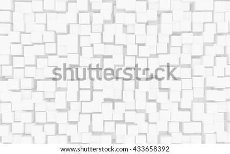 White cubes abstract background. 3D illustration.