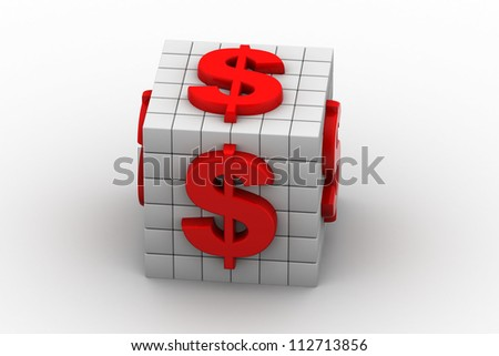 White Cubes And dollar sign