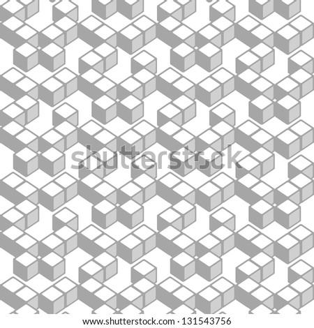 White cubes, geometric seamless pattern - stock photo