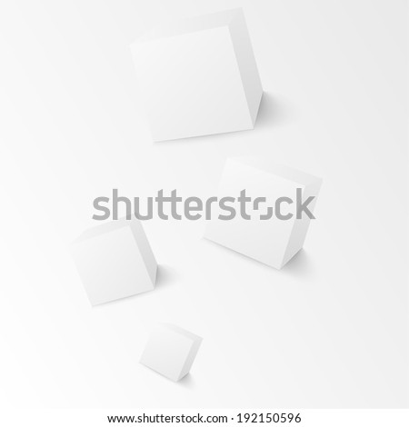 White cubes isolated on white background. Minimalistic composition with an inclined plane. The blank for website design, banner, presentation, report, printed products. raster version  - stock photo