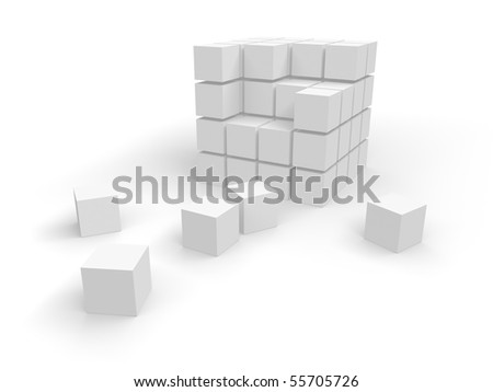 white cubes on a white background