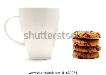 White cup and chocolate cookies, isolated on a white background - stock photo
