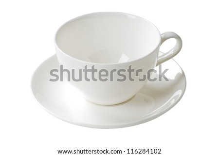 White cup and saucer - stock photo