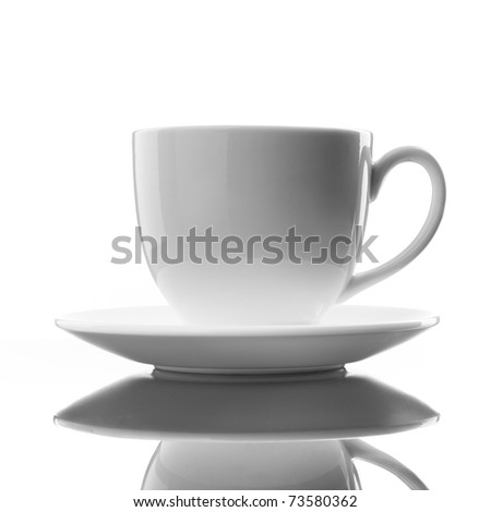 white cup and saucer on white - stock photo