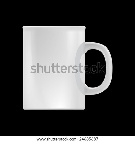 White cup design template (isolated on black, clipping path) - stock photo