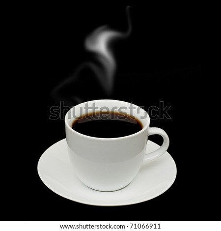 White cup isolated on a black background - stock photo